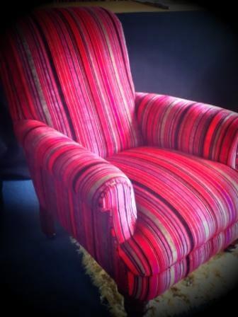 pink stripe bedroom chair